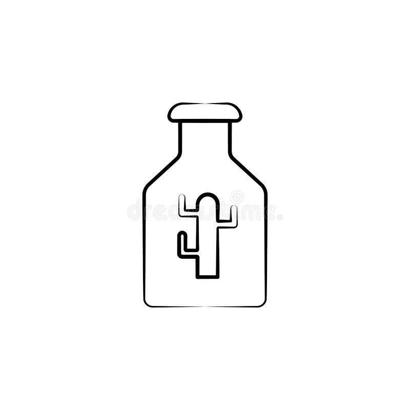 Значок напитка кактуса Элемент значка dia de muertos для мобильных приложений концепции и сети Значок напитка кактуса руки вычерч иллюстрация штока