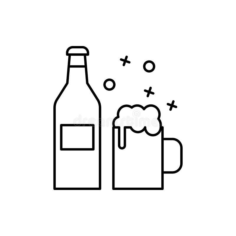 Значок напитка на этикетке пива Элемент значка тонкой линии партии барбекю иллюстрация штока