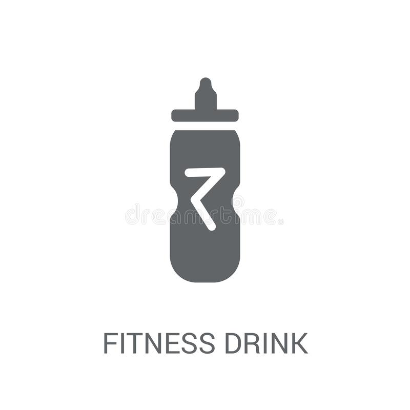 значок напитка фитнеса Ультрамодная концепция логотипа напитка фитнеса на белом b иллюстрация вектора