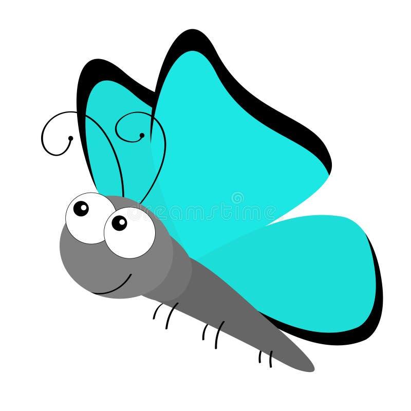 Значок насекомого летания бабочки Собрание детей младенца Красочное голубое amathonte Morpho чешуекрылые Милое kawaii мультфильма иллюстрация штока