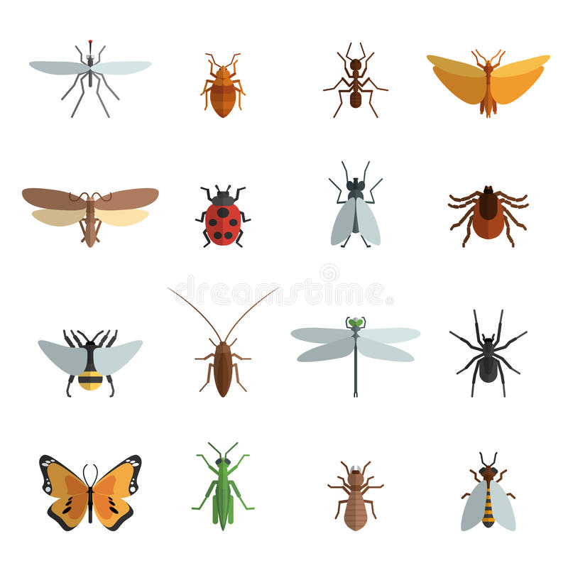 Значок насекомого плоский иллюстрация вектора