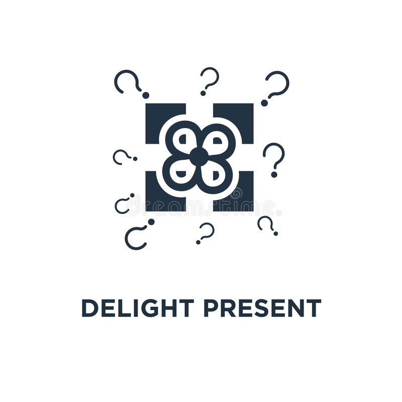 значок наслаждения присутствующий дизайн символа концепции подарочной коробки сюрприза желтый, торжество дня рождения, экстренный иллюстрация штока