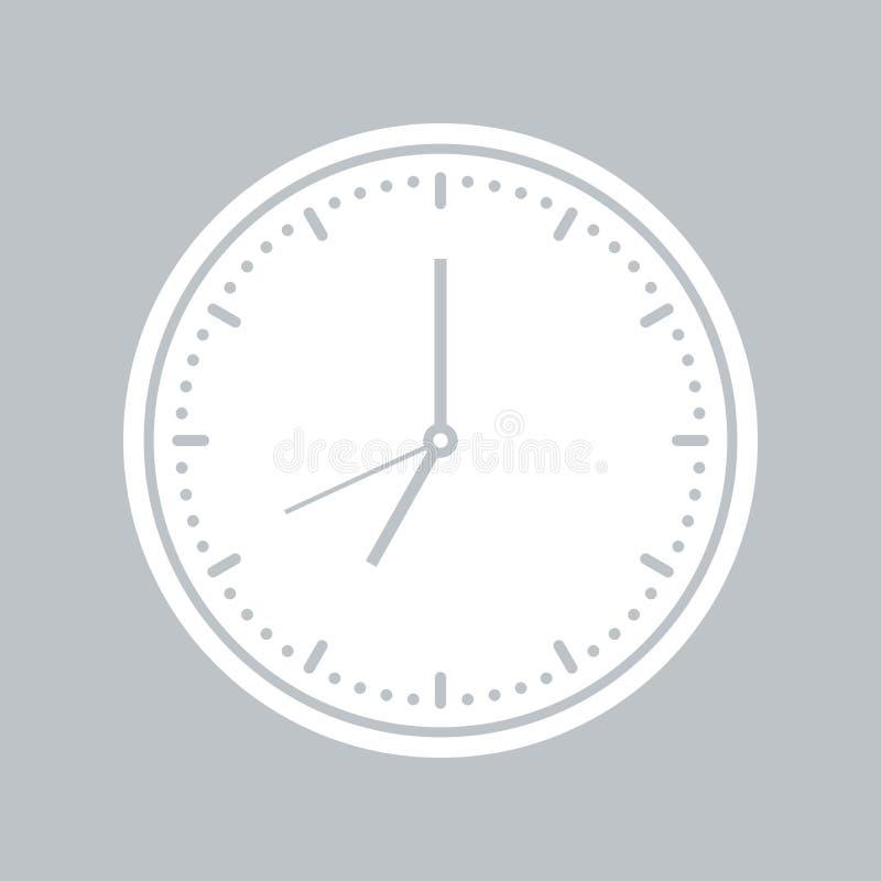 Значок настенных часов на серой предпосылке, для любого случая иллюстрация вектора