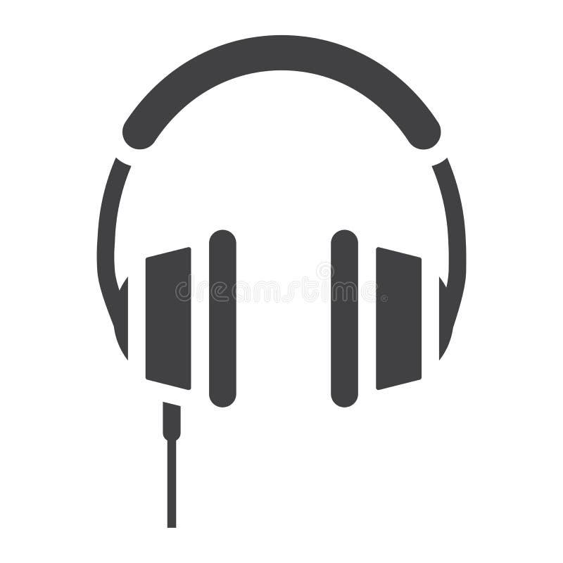 Значок наушников твердый, слушает и музыка иллюстрация вектора