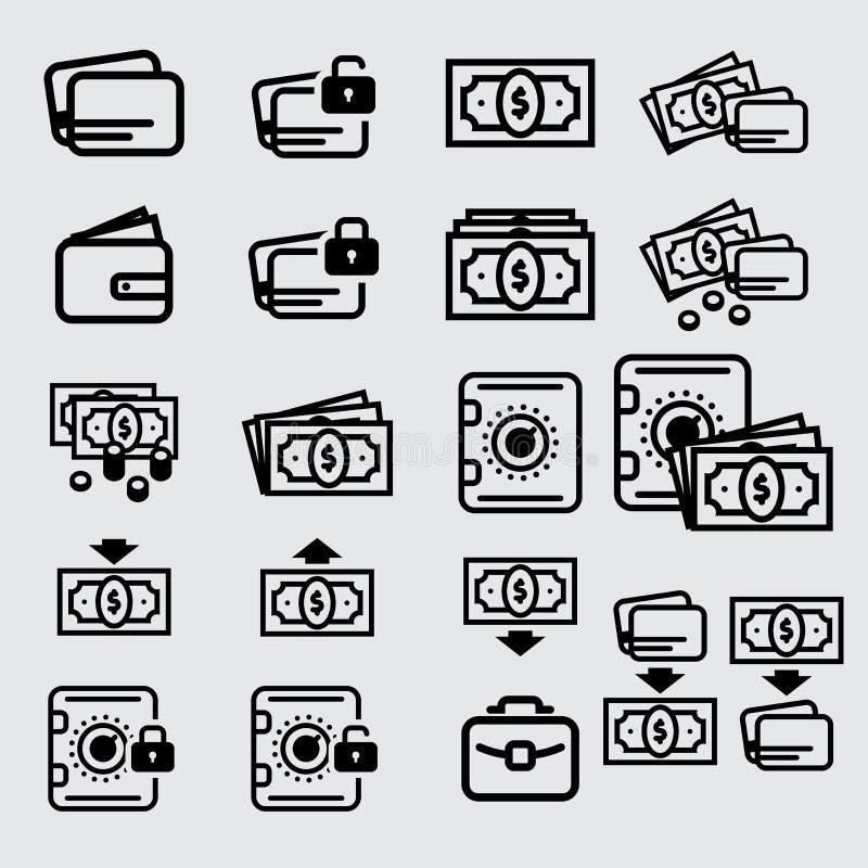 Значок, наличные деньги и кредитная карточка денег стоковая фотография