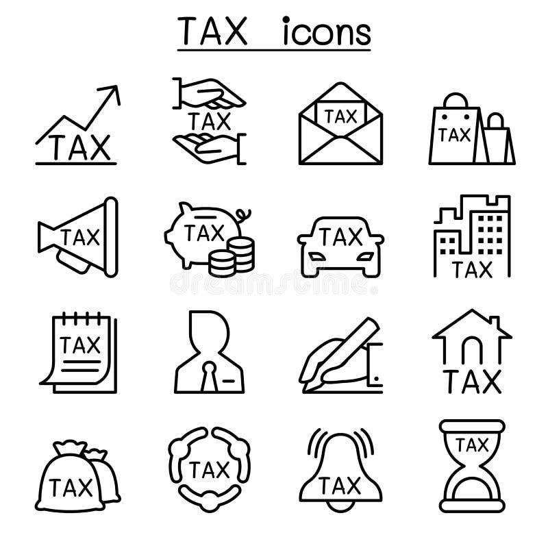 Значок налога установленный в тонкую линию стиль иллюстрация вектора