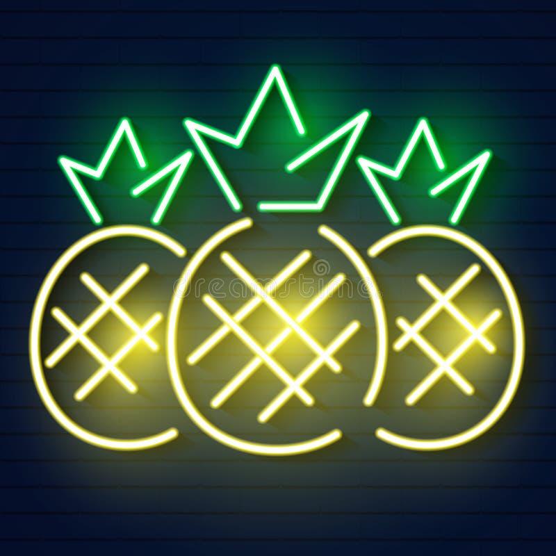 Значок неонового света ананаса Светящий вектор знака иллюстрация штока