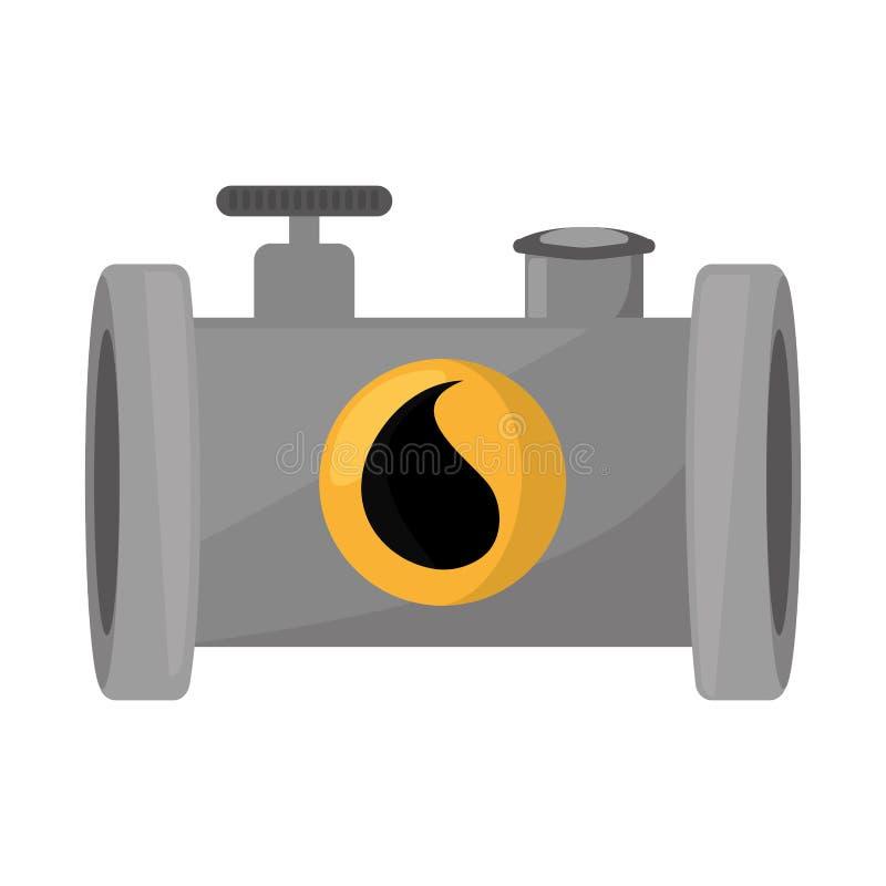 Значок нефтедобывающей промышленности изолированный трубопроводом иллюстрация вектора