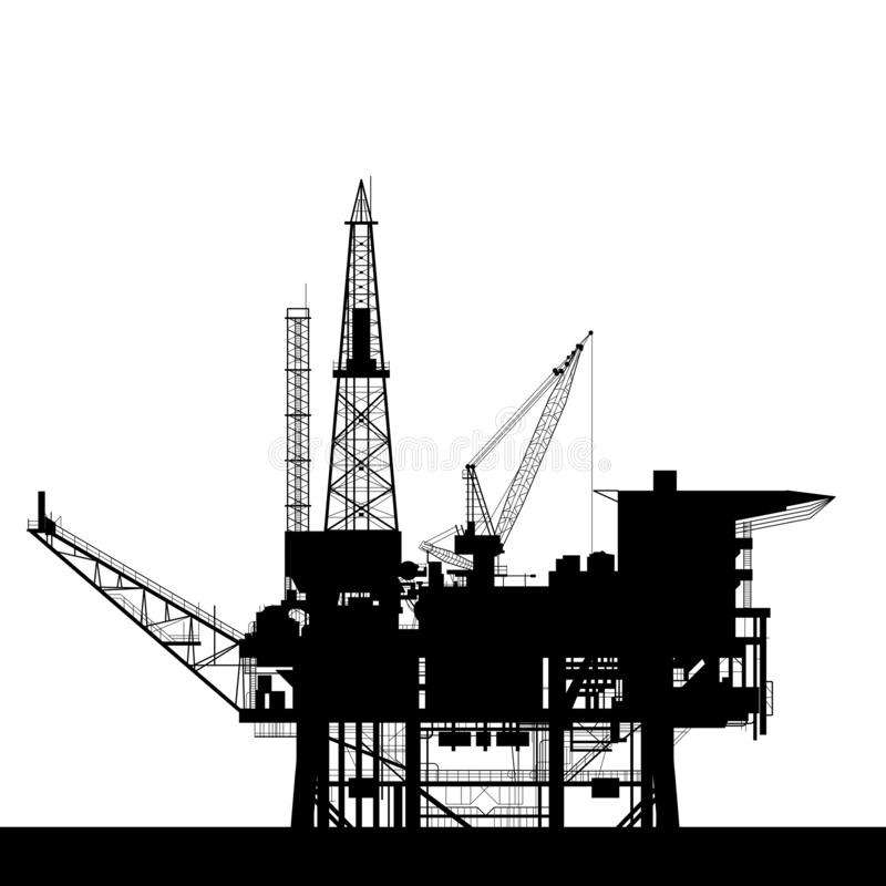 Значок нефтяной платформы моря - башня силуэта, газа и нефти платформы снаряжения буря иллюстрация штока