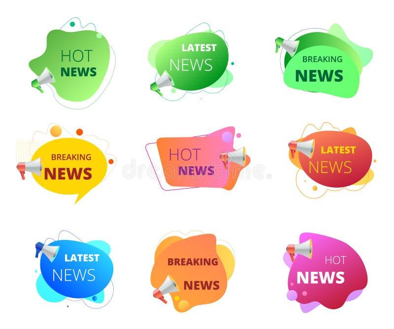 Значок новостей установил с мегафоном Знамена продвижения, ярлык с шариком текста, ломающ, горячее, самое последнее новое иллюстрация штока