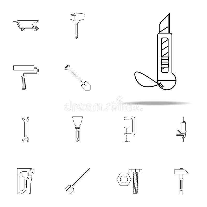 значок ножа конструкции Набор домашних значков инструмента ремонта всеобщий для сети и черни бесплатная иллюстрация
