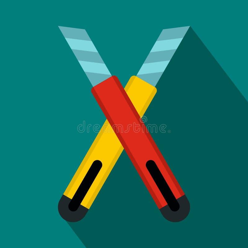 Значок 2 ножей конструкции общего назначения, плоский стиль иллюстрация вектора