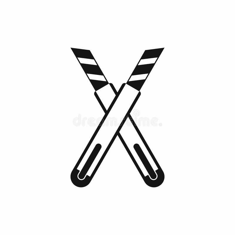 Значок 2 ножей конструкции общего назначения, простой стиль иллюстрация вектора