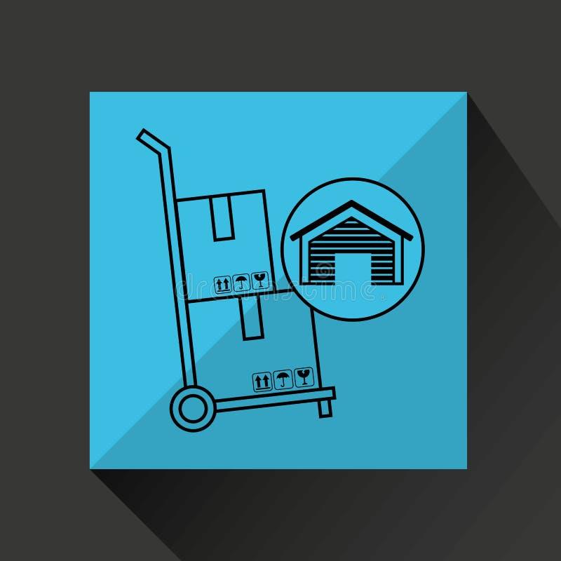 Значок нося ручной тележки коробок здания склада иллюстрация вектора