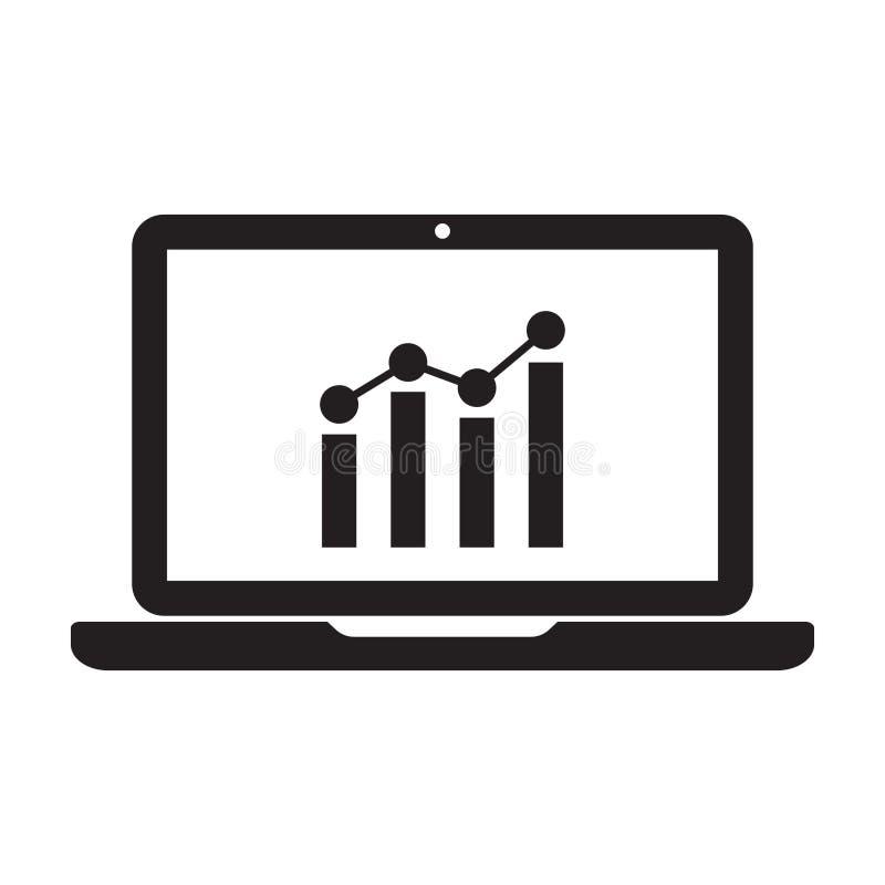 Значок ноутбука с диаграммой на экране бесплатная иллюстрация