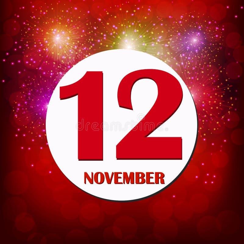 Значок 12 ноября Для планирования важного дня иллюстрация штока