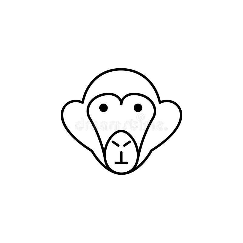 Значок обезьяны Элемент значка исследования scientifics для передвижных apps концепции и сети Тонкую линию значок обезьяны можно  иллюстрация вектора