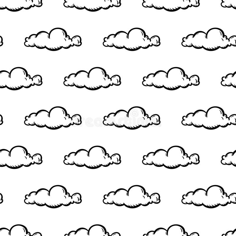 Значок облака картины красивой моды руки вычерченной безшовный Эскиз нарисованный рукой черный Знак/символ/doodle Изолировано на  иллюстрация штока