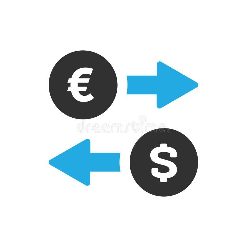 Значок обменом денег в ультрамодном плоском стиле изолированный на белой предпосылке Символы евро и доллара с голубыми стрелками  бесплатная иллюстрация