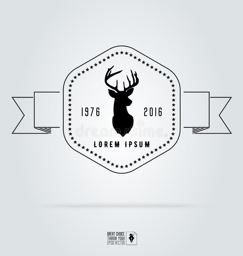 Значок обозначает логотип битника Голова оленей иллюстрации вектора иллюстрация штока