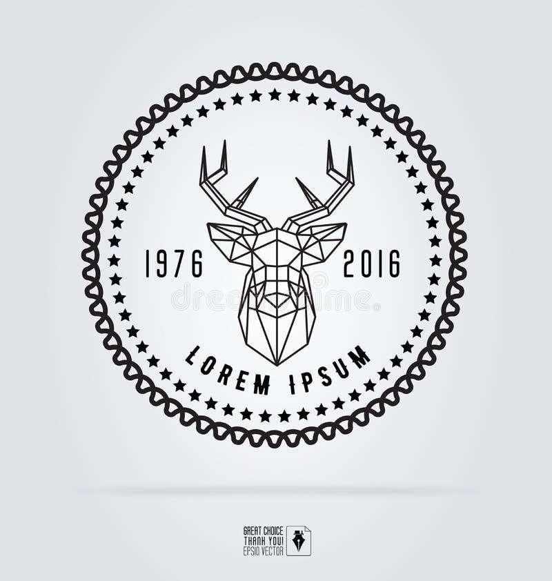 Значок обозначает логотип битника Силуэт иллюстрации вектора полигональной головы оленей Ретро винтажные шаблоны эмблемы иллюстрация вектора