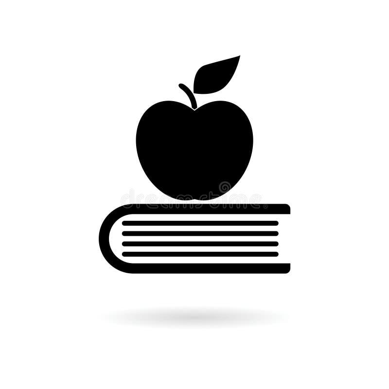Значок образования, книга с яблоком иллюстрация штока