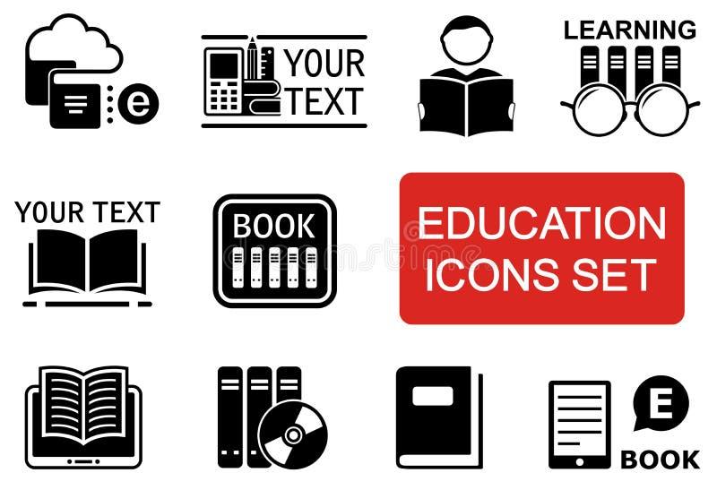 Значок образования установленный с красным акцентом бесплатная иллюстрация