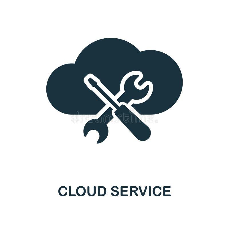 Значок обслуживания облака Monochrome дизайн стиля от большого собрания значка данных Ui Значок обслуживания облака пиктограммы п иллюстрация штока