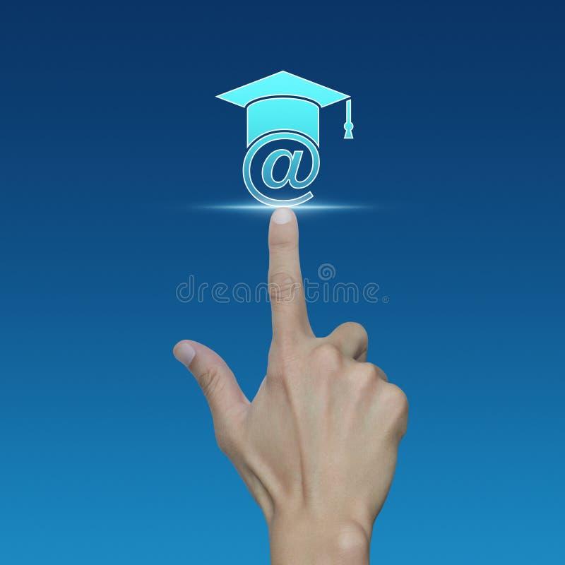 Значок обучения по Интернетуу отжимать руки на голубой предпосылке стоковая фотография