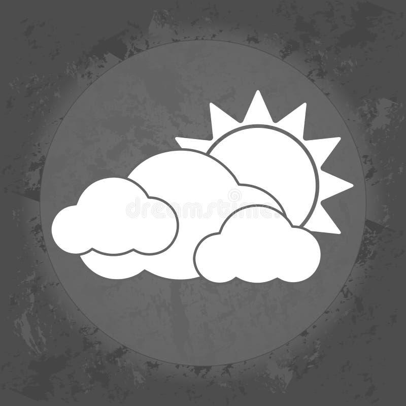 Значок, облака и солнце, погода overcast на серой винтажной предпосылке иллюстрация вектора