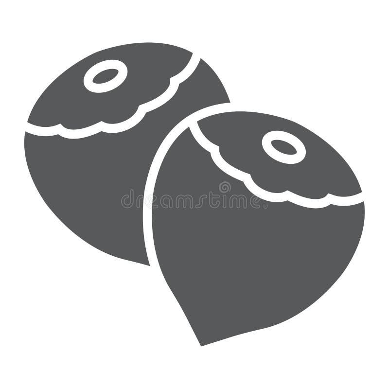 Значок, овощ и гайка глифа фундука, иллюстрация вектора