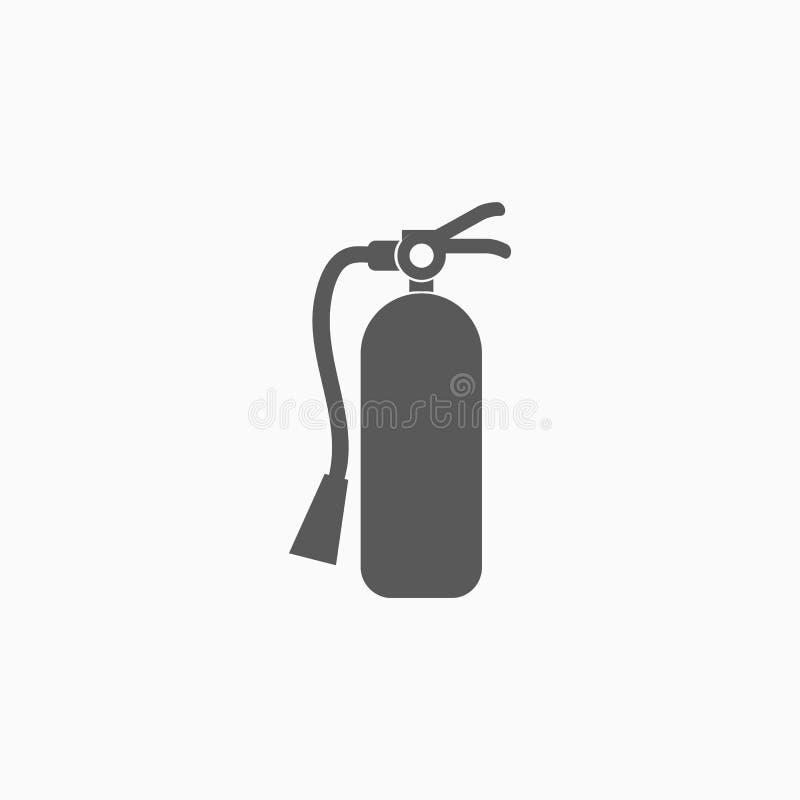 Значок огнетушителя, безопасность, гаситель, пожаротушение иллюстрация вектора