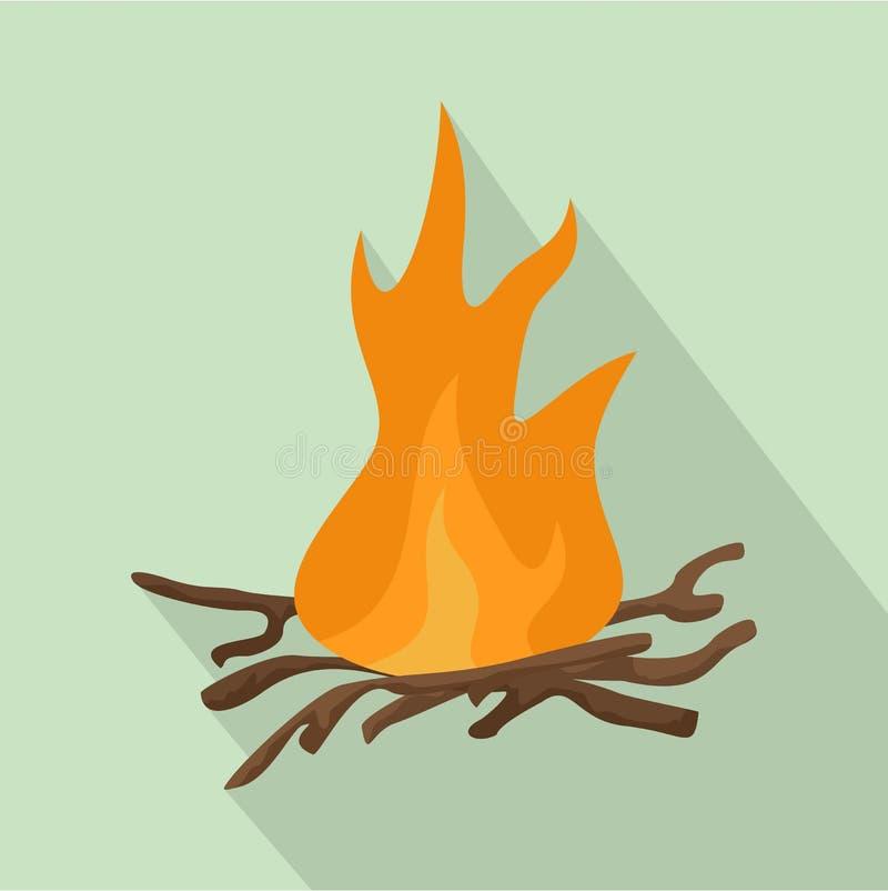 Значок огня Bbq, плоский стиль бесплатная иллюстрация