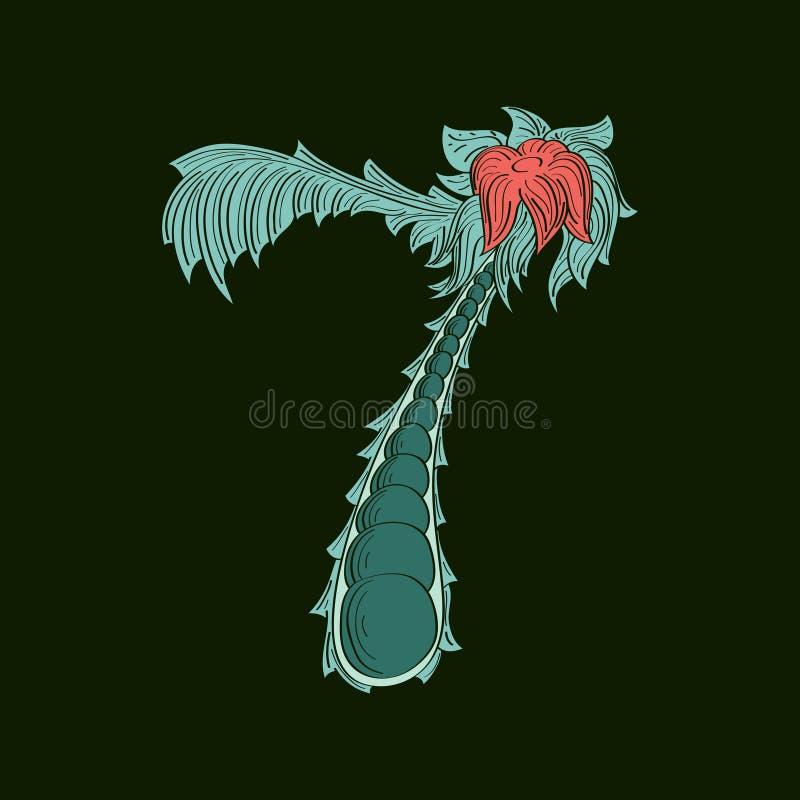 Значок логотипа абстрактный 7 в голубом тропическом стиле бесплатная иллюстрация