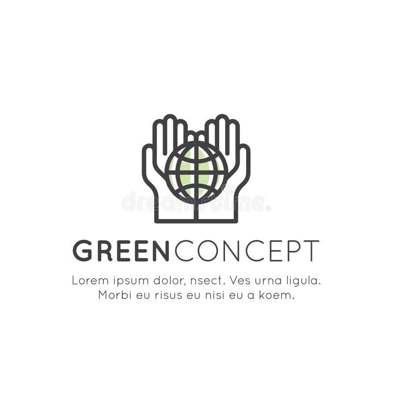 Значок логотипа установленный рециркулируя экологическую концепцию, засаживает дерево бесплатная иллюстрация