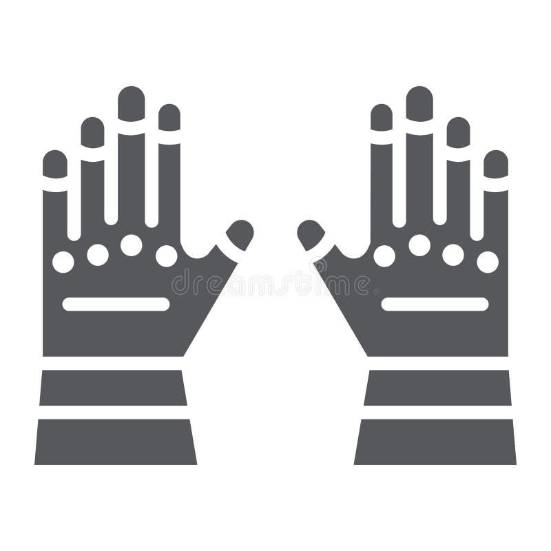 Значок, одежды и предохранение от глифа перчаток пожарного, резиновые перчатки подписывают, векторные графики, твердая картина на иллюстрация штока