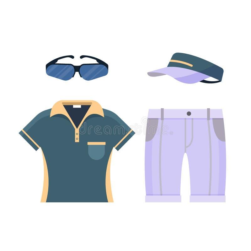 Значок одежд формы гольфа установленный изолированный на белой предпосылке, плоских элементах для играть в гольф как стекла, руба иллюстрация штока
