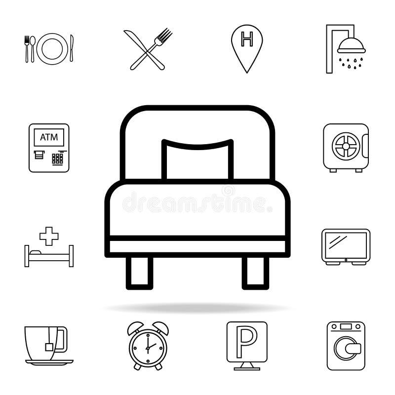 значок односпальной кровати Комплект значков гостиницы всеобщий для сети и черни иллюстрация штока