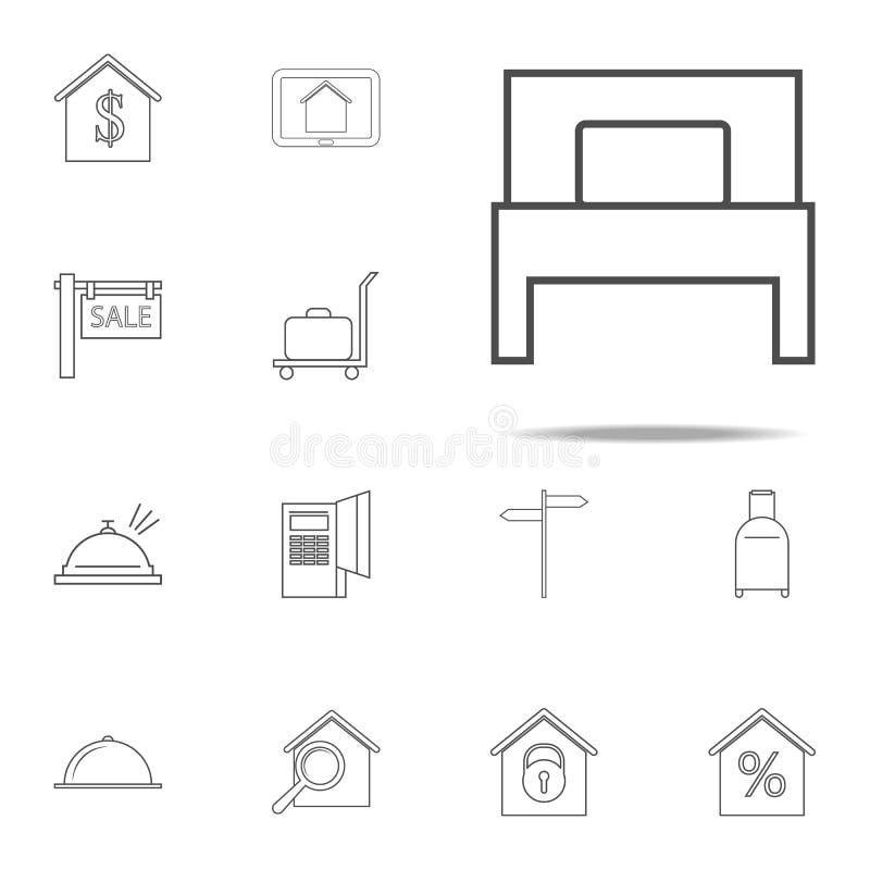 значок односпальной кровати комплект значков сети всеобщий для сети и черни иллюстрация штока