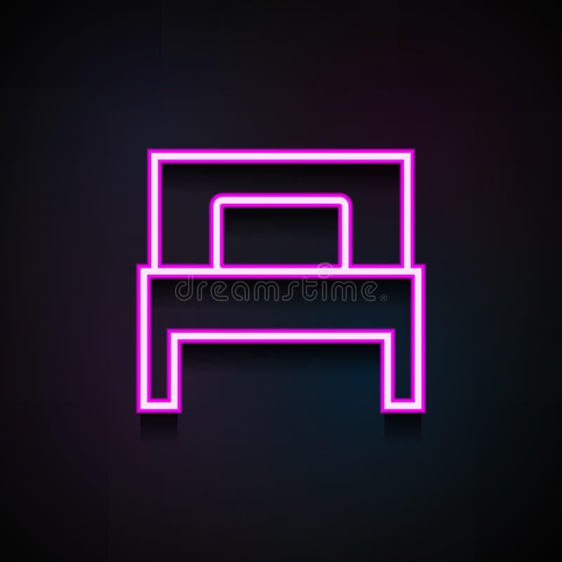 значок односпальной кровати Элемент minimalistic значков для передвижных apps концепции и сети Неоновый значок односпальной крова иллюстрация вектора