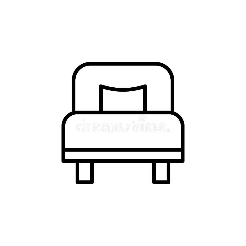 значок односпальной кровати Элемент otel и мотелей для передвижных apps концепции и сети Тонкая линия значок для дизайна вебсайта бесплатная иллюстрация