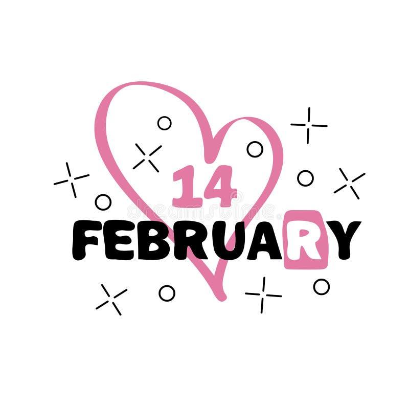 Значок 14-ое февраля Счастливая концепция дня валентинок Нарисованная рукой литерность вектора бесплатная иллюстрация