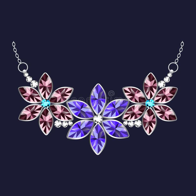 Значок ожерелья ювелирных изделий цветка, реалистический стиль иллюстрация вектора