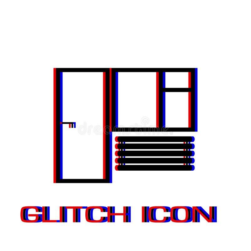 Значок окна и двери плоско бесплатная иллюстрация
