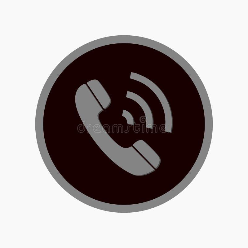Значок округленный телефоном Стиль иллюстрации вектора плоско иконический символ внутри круга, серый цвет, прозрачная предпосылка иллюстрация штока