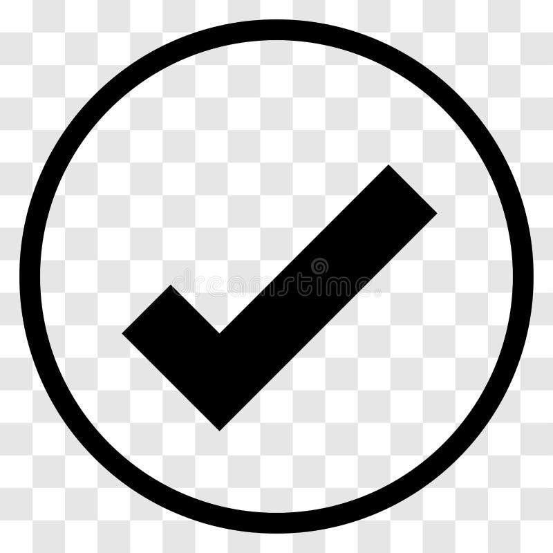 Значок округленный контрольной пометкой - дизайн вектора иконический иллюстрация штока