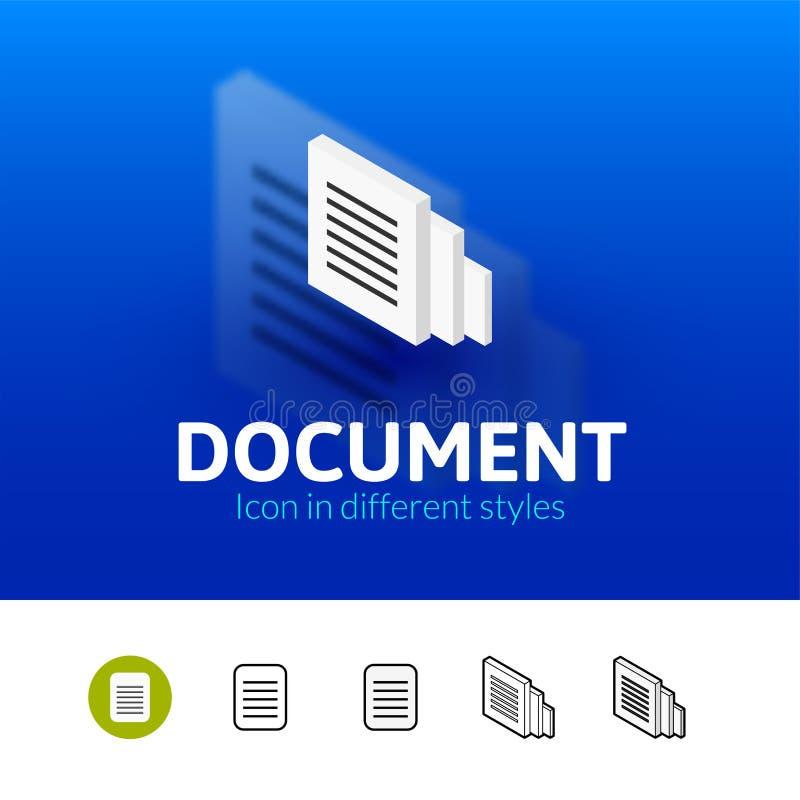 Значок документа в различном стиле иллюстрация вектора