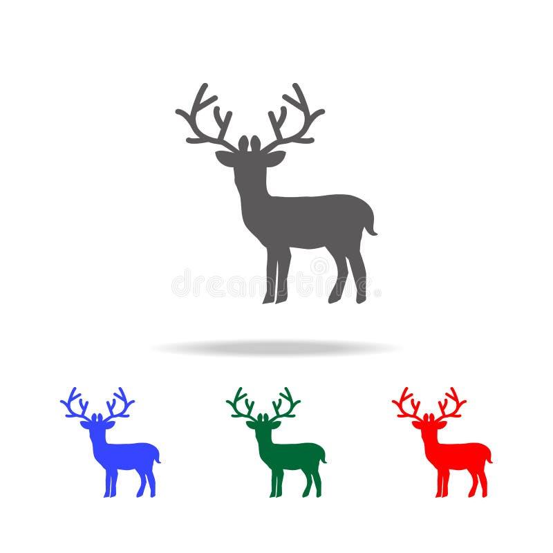 Значок оленей Элементы праздников рождества в multi покрашенных значках Наградной качественный значок графического дизайна Просто иллюстрация штока