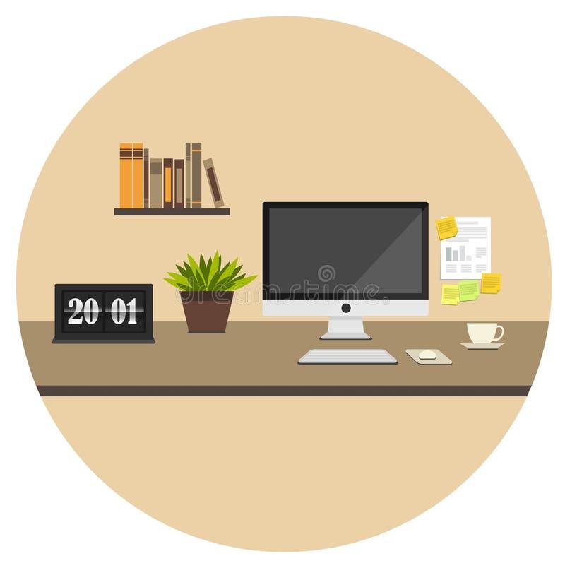 Значок домашнего офиса плоский стоковые фото