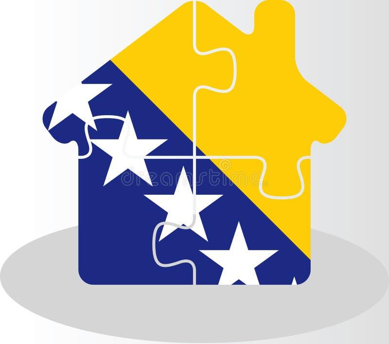 Значок дома домашний с флагом Боснии Herzegovinan в головоломке иллюстрация вектора